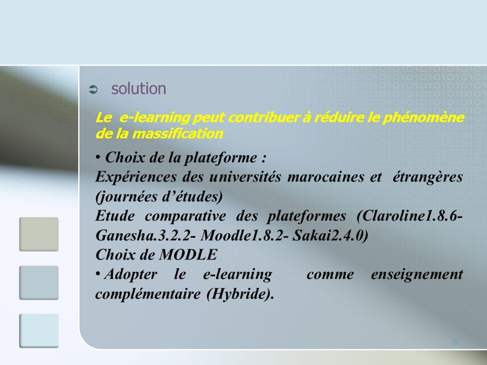 5 solution Le e-learning peut contribuer à réduire le phénomène de la massification Choix de la plateforme : Expériences des universités marocaines et
