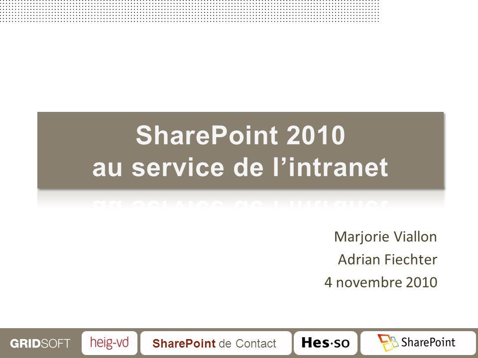 SharePoint de Contact Marjorie Viallon Adrian Fiechter 4 novembre 2010