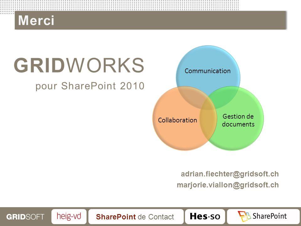 SharePoint de Contact GRIDWORKS pour SharePoint 2010 adrian.fiechter@gridsoft.ch marjorie.viallon@gridsoft.ch Communication Gestion de documents Colla