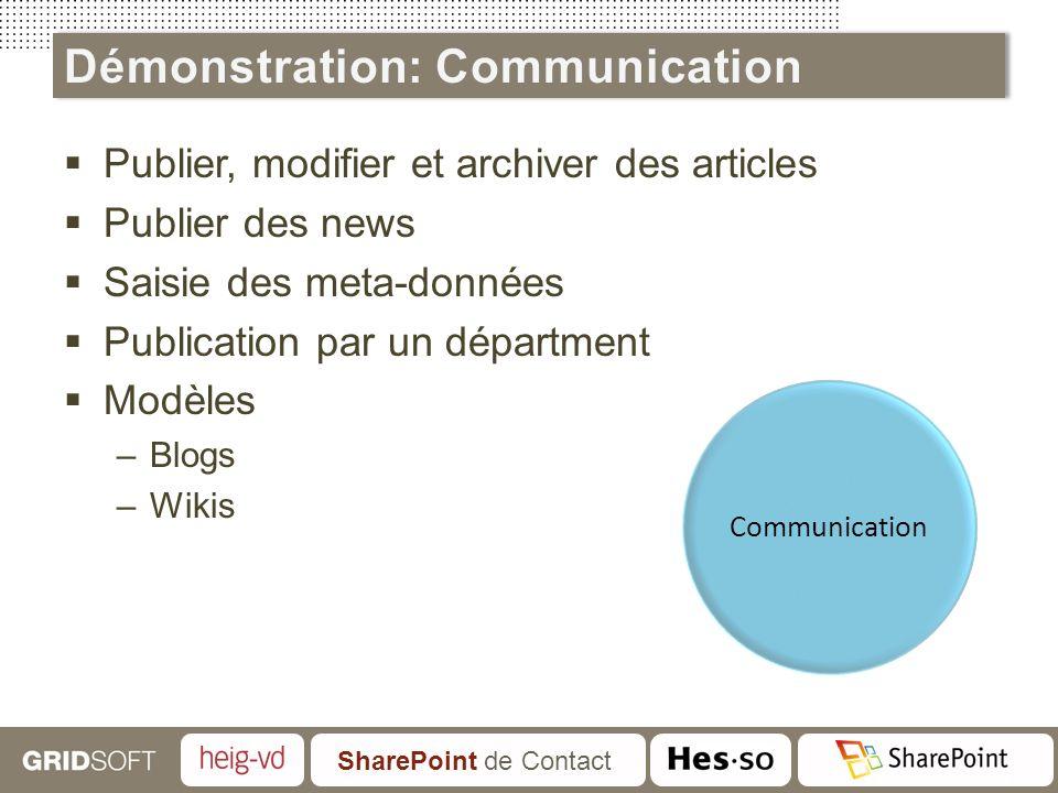 SharePoint de Contact Publier, modifier et archiver des articles Publier des news Saisie des meta-données Publication par un départment Modèles –Blogs