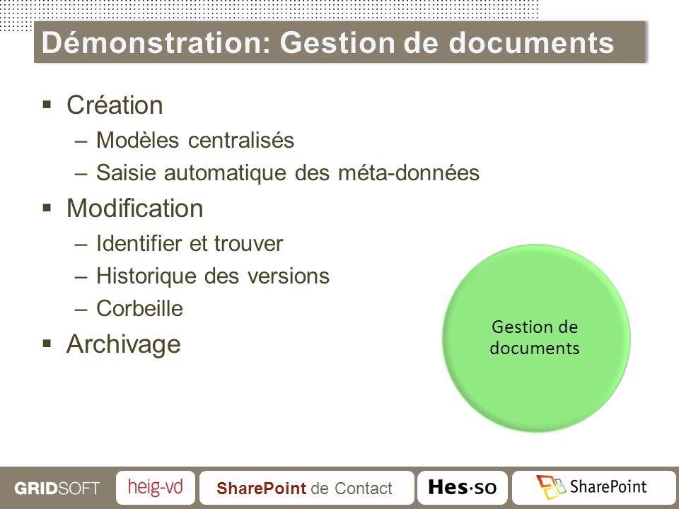 SharePoint de Contact Création –Modèles centralisés –Saisie automatique des méta-données Modification –Identifier et trouver –Historique des versions