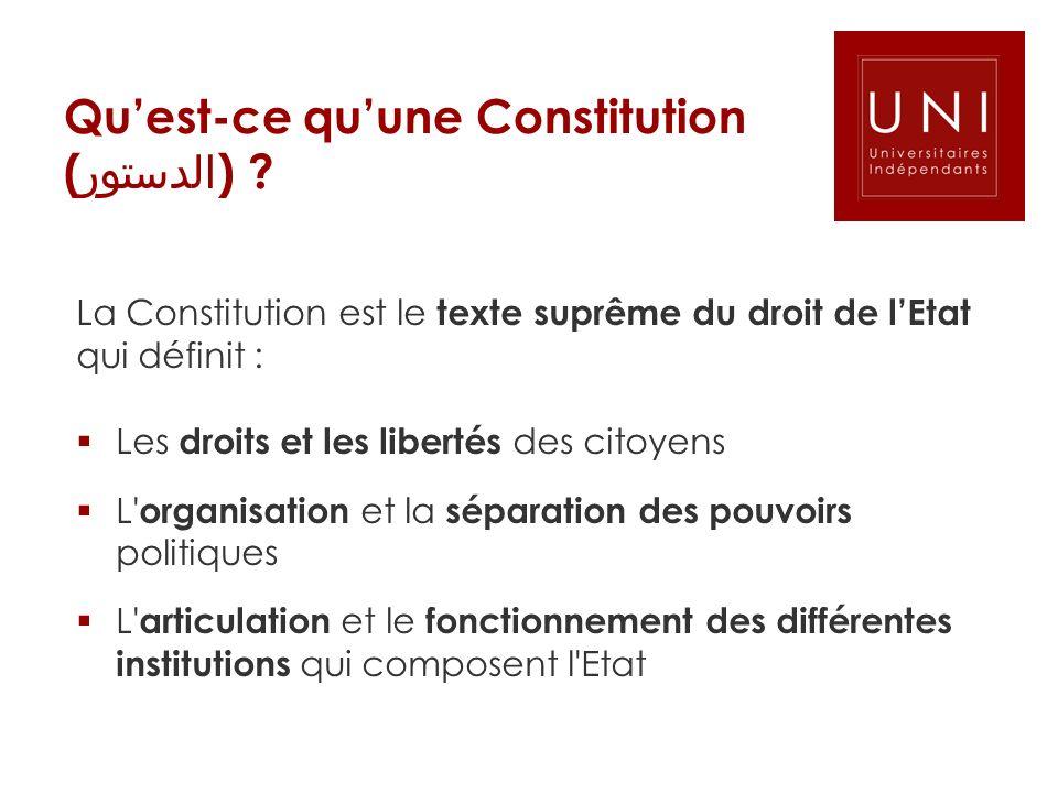 Quest-ce quune Constitution ( الدستور ) ? La Constitution est le texte suprême du droit de lEtat qui définit : Les droits et les libertés des citoyens