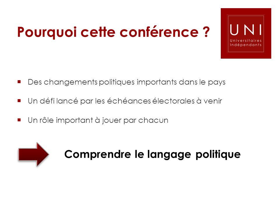 Pourquoi cette conférence ? Des changements politiques importants dans le pays Un défi lancé par les échéances électorales à venir Un rôle important à