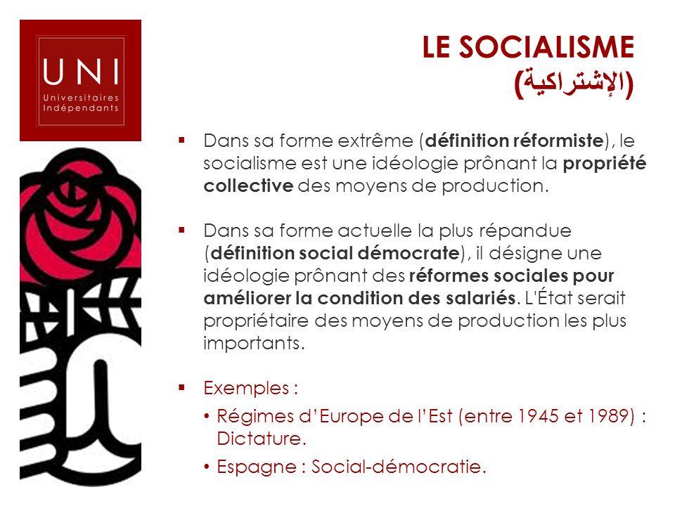 Dans sa forme extrême ( définition réformiste ), le socialisme est une idéologie prônant la propriété collective des moyens de production. Dans sa for