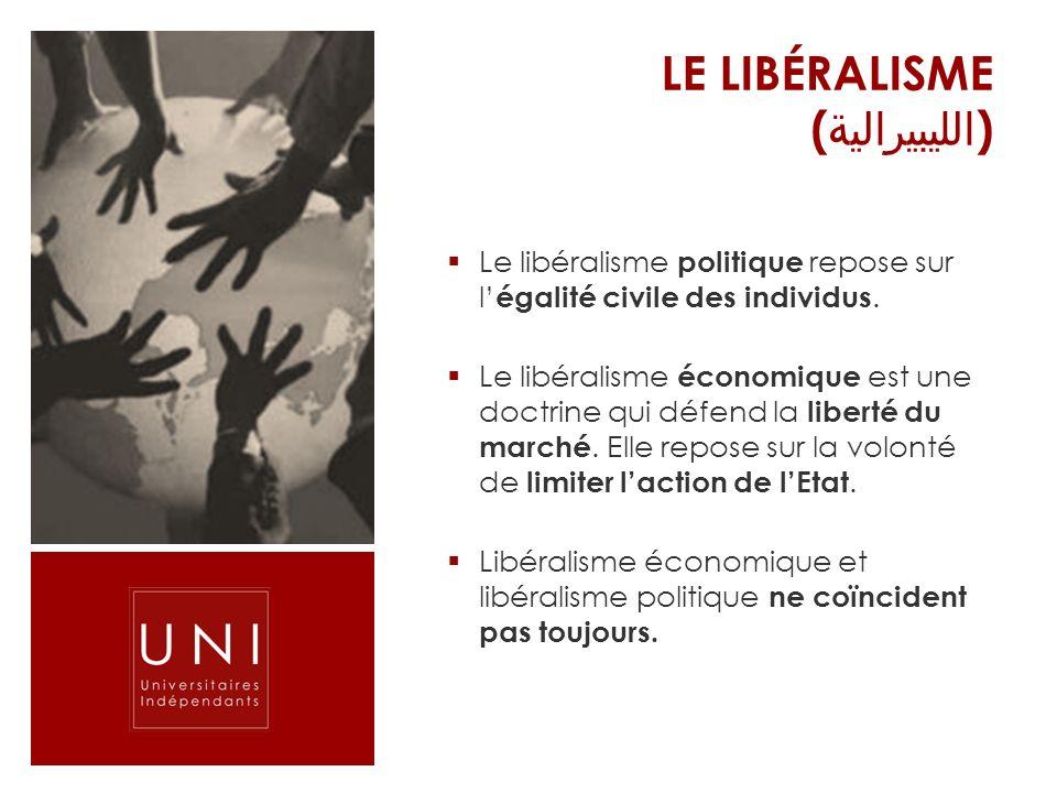 LE LIBÉRALISME ( الليبيرالية ) Le libéralisme politique repose sur l égalité civile des individus. Le libéralisme économique est une doctrine qui défe