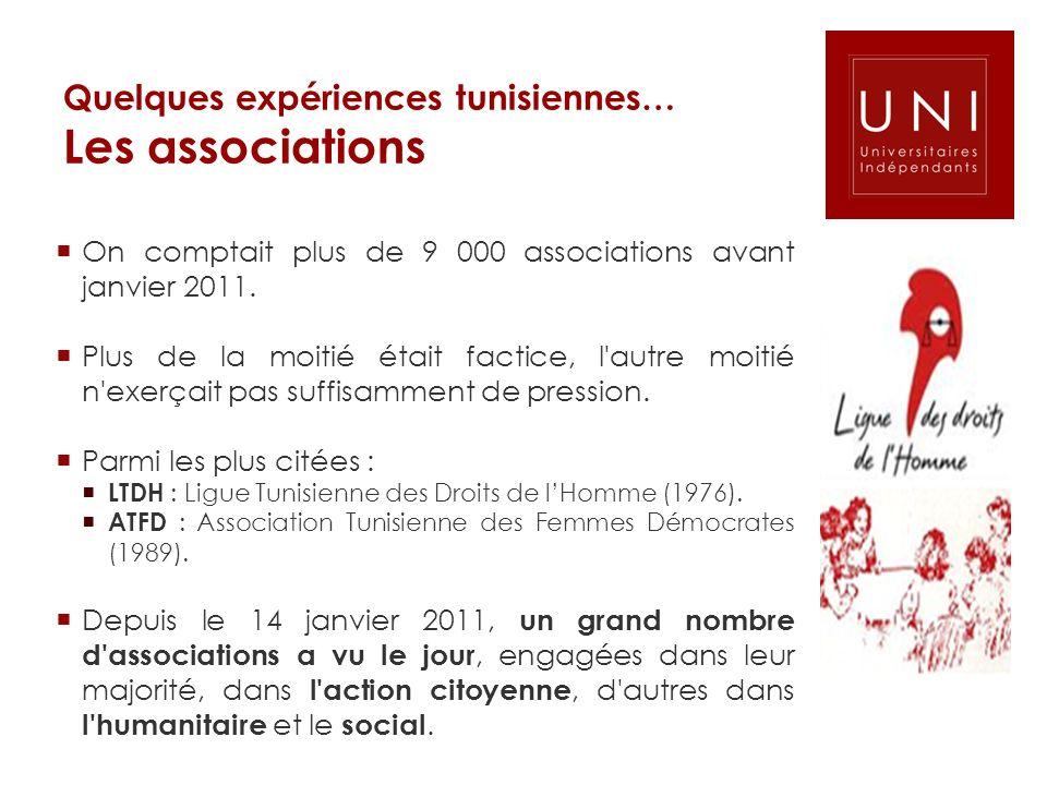Quelques expériences tunisiennes… Les associations On comptait plus de 9 000 associations avant janvier 2011. Plus de la moitié était factice, l'autre