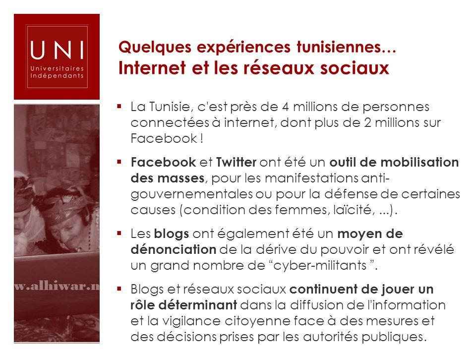 Quelques expériences tunisiennes… Internet et les réseaux sociaux La Tunisie, c'est près de 4 millions de personnes connectées à internet, dont plus d