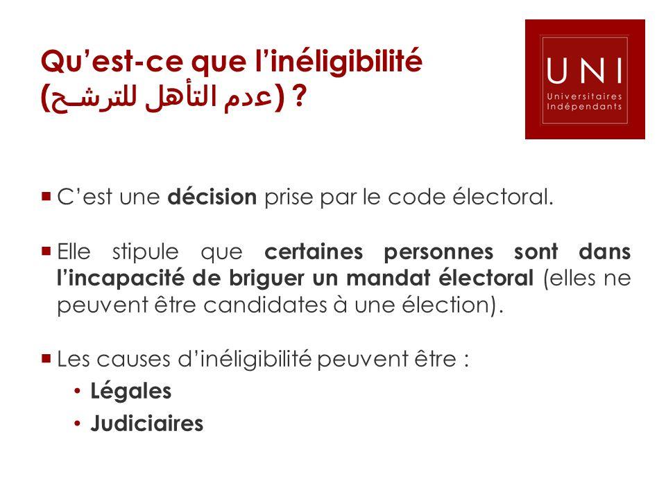 Quest-ce que linéligibilité ( دم التأهل للترـ ) ? Cest une décision prise par le code électoral. Elle stipule que certaines personnes sont dans lincap