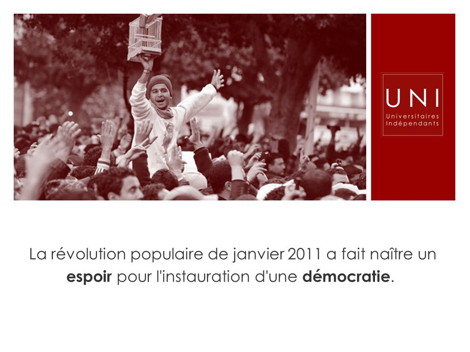 La révolution populaire de janvier 2011 a fait naître un espoir pour l'instauration d'une démocratie.