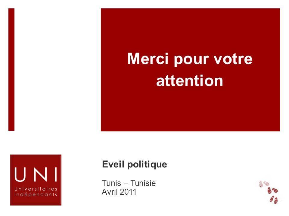 Merci pour votre attention Eveil politique Tunis – Tunisie Avril 2011