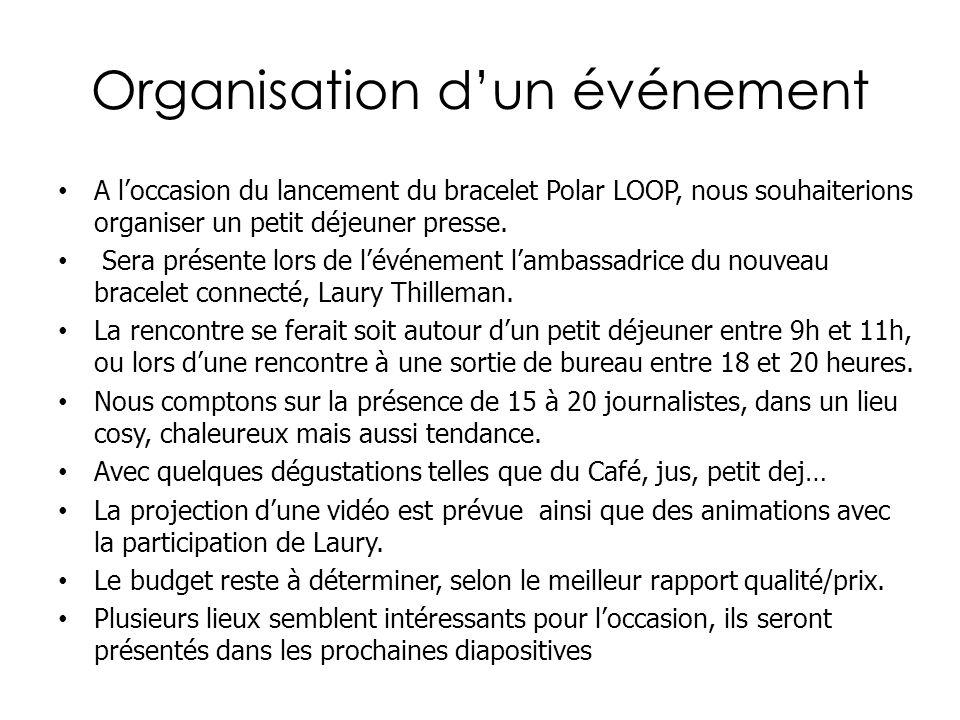 Organisation dun événement A loccasion du lancement du bracelet Polar LOOP, nous souhaiterions organiser un petit déjeuner presse. Sera présente lors