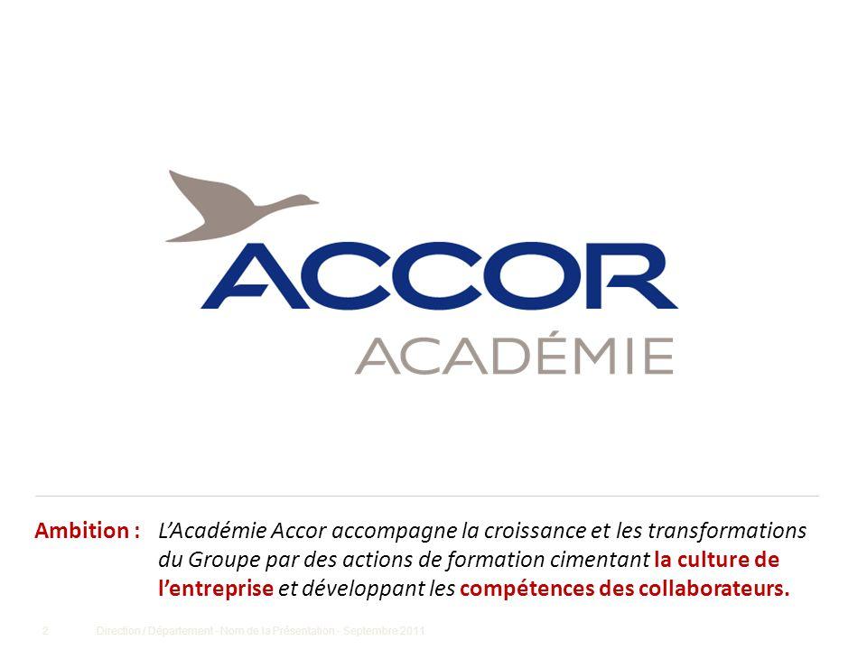 2Direction / Département - Nom de la Présentation - Septembre 2011 LAcadémie Accor accompagne la croissance et les transformations du Groupe par des a