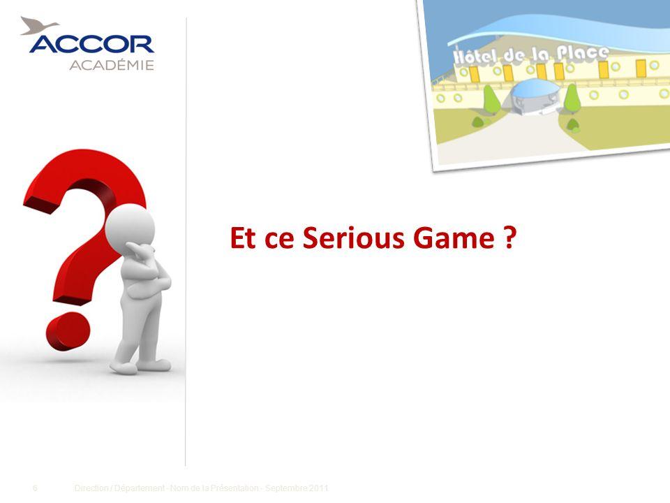 17Direction / Département - Nom de la Présentation - Septembre 2011 Qui intervient ?