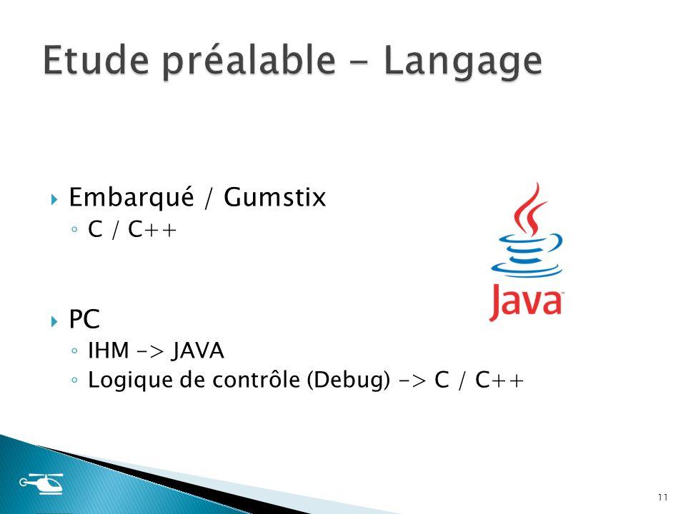 Embarqué / Gumstix C / C++ PC IHM -> JAVA Logique de contrôle (Debug) -> C / C++ 11