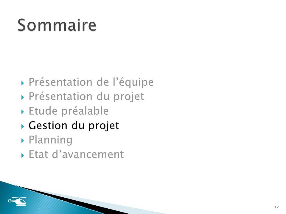 Présentation de léquipe Présentation du projet Etude préalable Gestion du projet Planning Etat davancement 12
