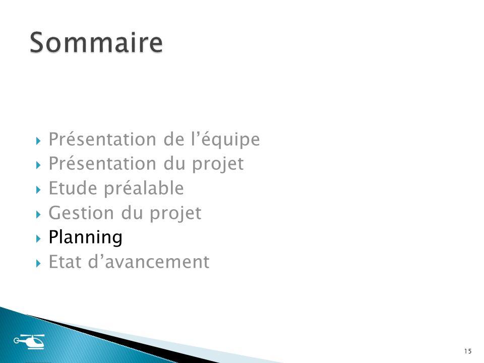 Présentation de léquipe Présentation du projet Etude préalable Gestion du projet Planning Etat davancement 15