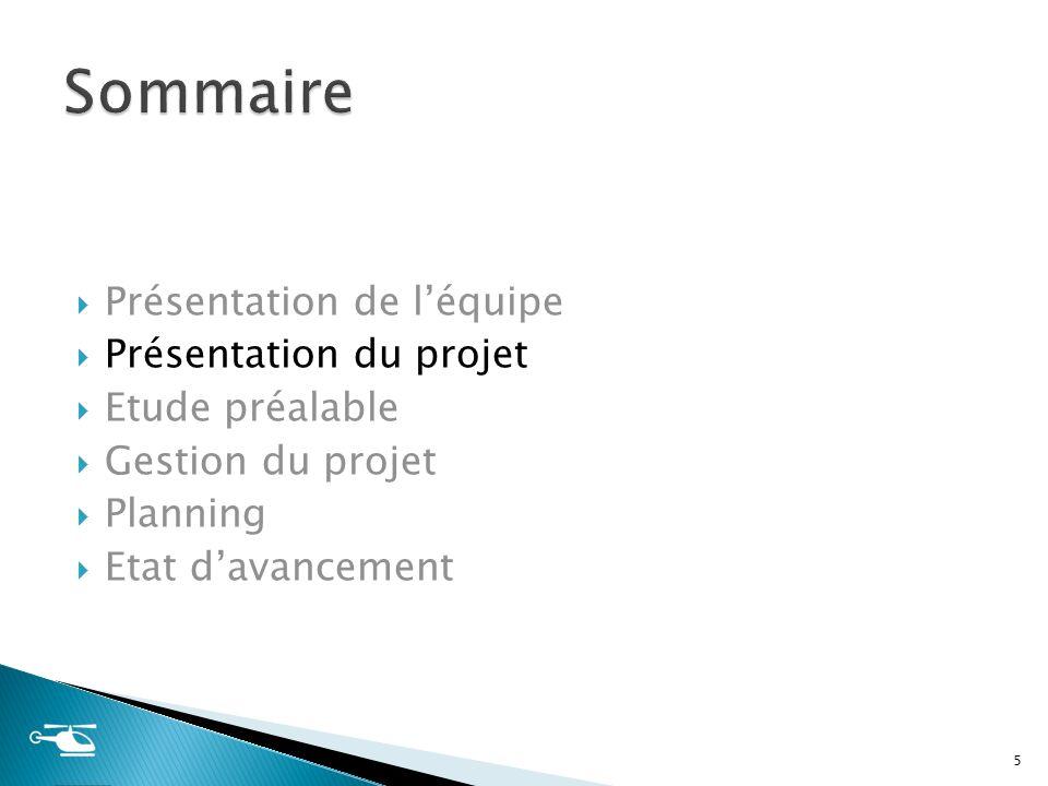 Présentation de léquipe Présentation du projet Etude préalable Gestion du projet Planning Etat davancement 5