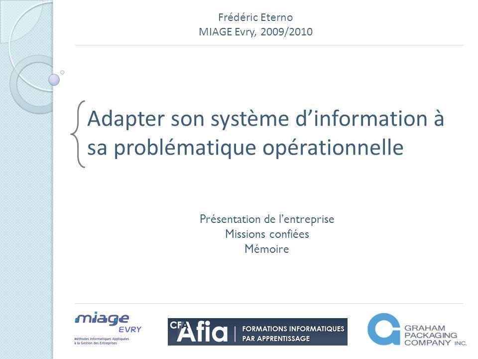 Frédéric Eterno MIAGE Evry, 2009/2010 Adapter son système dinformation à sa problématique opérationnelle Présentation de lentreprise Missions confiées Mémoire