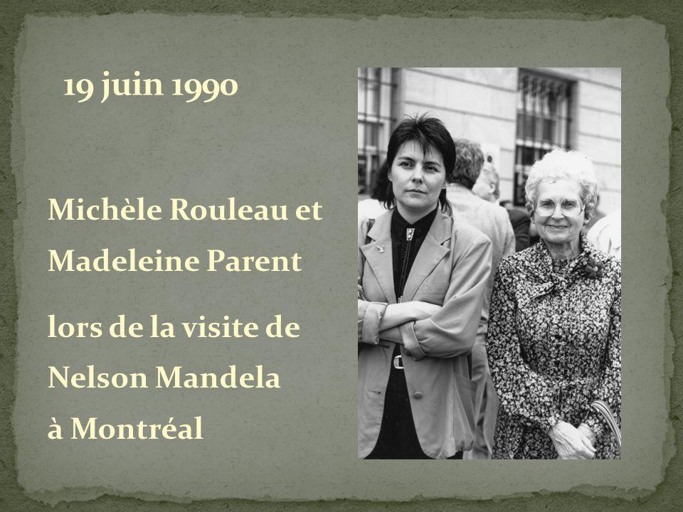 Michèle Rouleau et Madeleine Parent lors de la visite de Nelson Mandela à Montréal