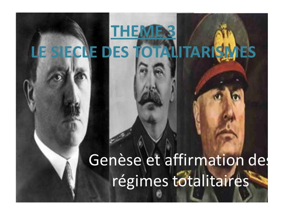 THEME 3 LE SIECLE DES TOTALITARISMES Genèse et affirmation des régimes totalitaires