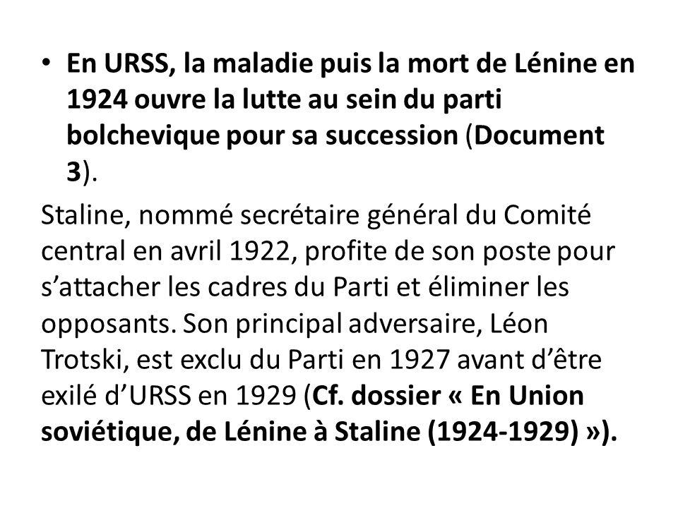 En URSS, la maladie puis la mort de Lénine en 1924 ouvre la lutte au sein du parti bolchevique pour sa succession (Document 3). Staline, nommé secréta