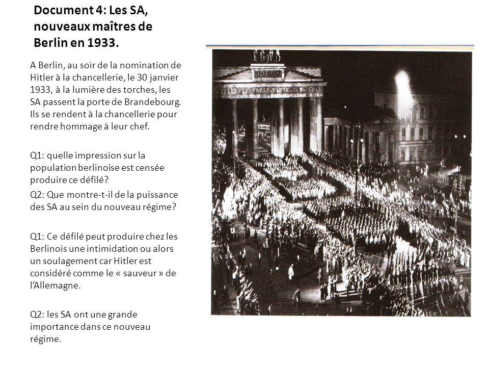 Document 4: Les SA, nouveaux maîtres de Berlin en 1933. A Berlin, au soir de la nomination de Hitler à la chancellerie, le 30 janvier 1933, à la lumiè