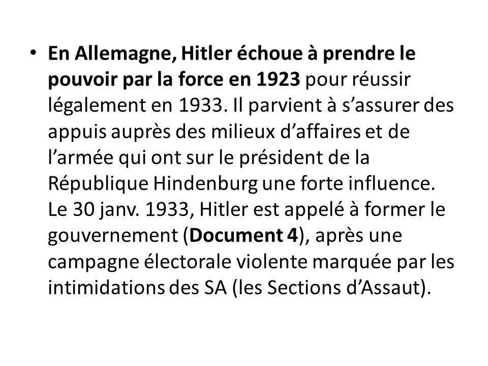 En Allemagne, Hitler échoue à prendre le pouvoir par la force en 1923 pour réussir légalement en 1933. Il parvient à sassurer des appuis auprès des mi