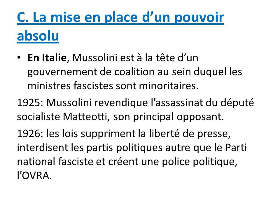 C. La mise en place dun pouvoir absolu En Italie, Mussolini est à la tête dun gouvernement de coalition au sein duquel les ministres fascistes sont mi