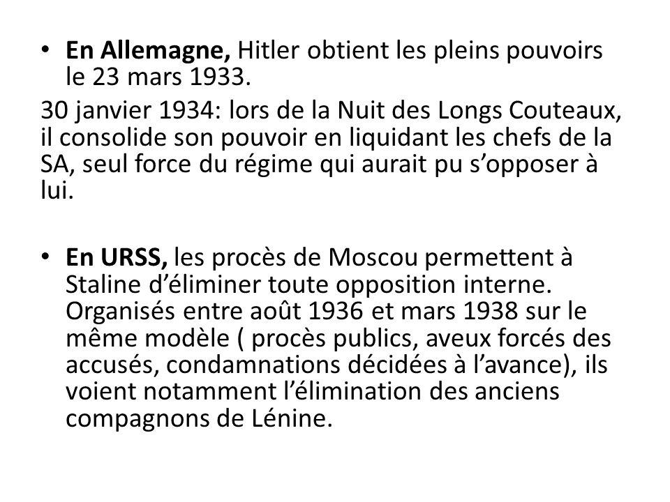 En Allemagne, Hitler obtient les pleins pouvoirs le 23 mars 1933. 30 janvier 1934: lors de la Nuit des Longs Couteaux, il consolide son pouvoir en liq