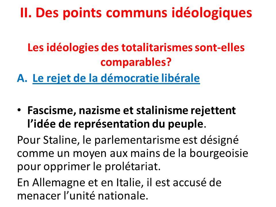 II. Des points communs idéologiques Les idéologies des totalitarismes sont-elles comparables? A.Le rejet de la démocratie libérale Fascisme, nazisme e
