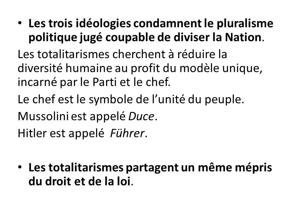 Les trois idéologies condamnent le pluralisme politique jugé coupable de diviser la Nation. Les totalitarismes cherchent à réduire la diversité humain