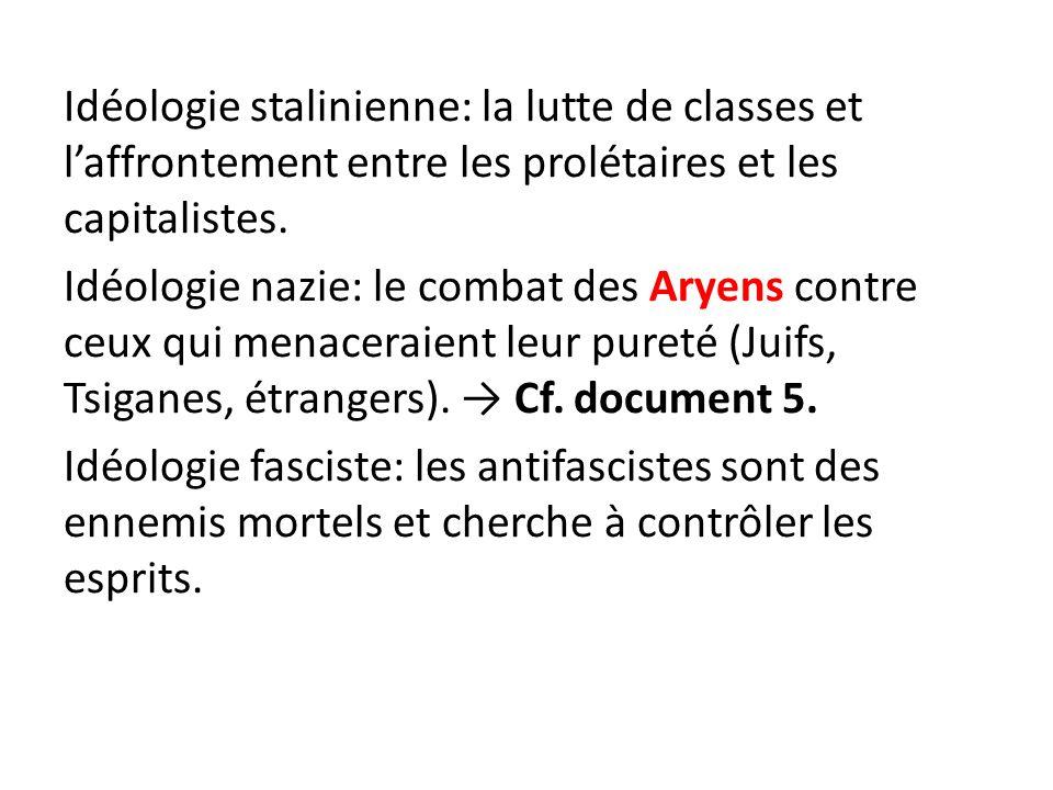 Idéologie stalinienne: la lutte de classes et laffrontement entre les prolétaires et les capitalistes. Idéologie nazie: le combat des Aryens contre ce