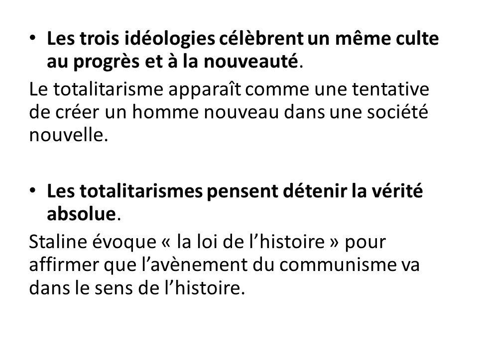 Les trois idéologies célèbrent un même culte au progrès et à la nouveauté. Le totalitarisme apparaît comme une tentative de créer un homme nouveau dan
