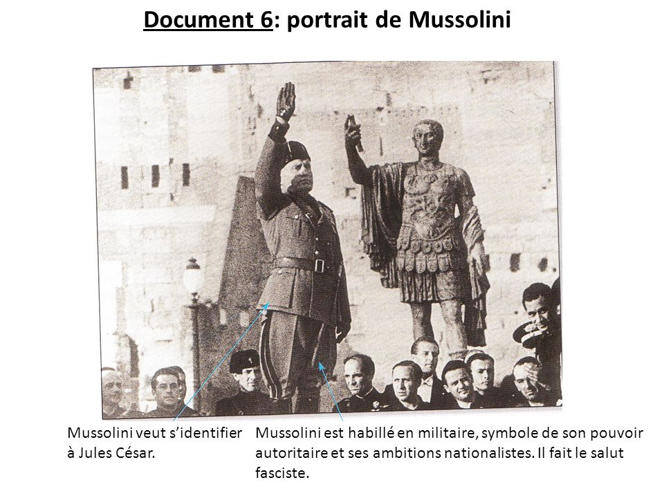 Document 6: portrait de Mussolini Mussolini veut sidentifier à Jules César. Mussolini est habillé en militaire, symbole de son pouvoir autoritaire et