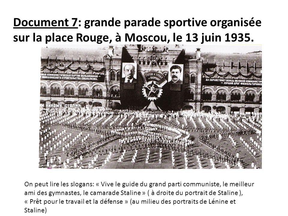 Document 7: grande parade sportive organisée sur la place Rouge, à Moscou, le 13 juin 1935. On peut lire les slogans: « Vive le guide du grand parti c