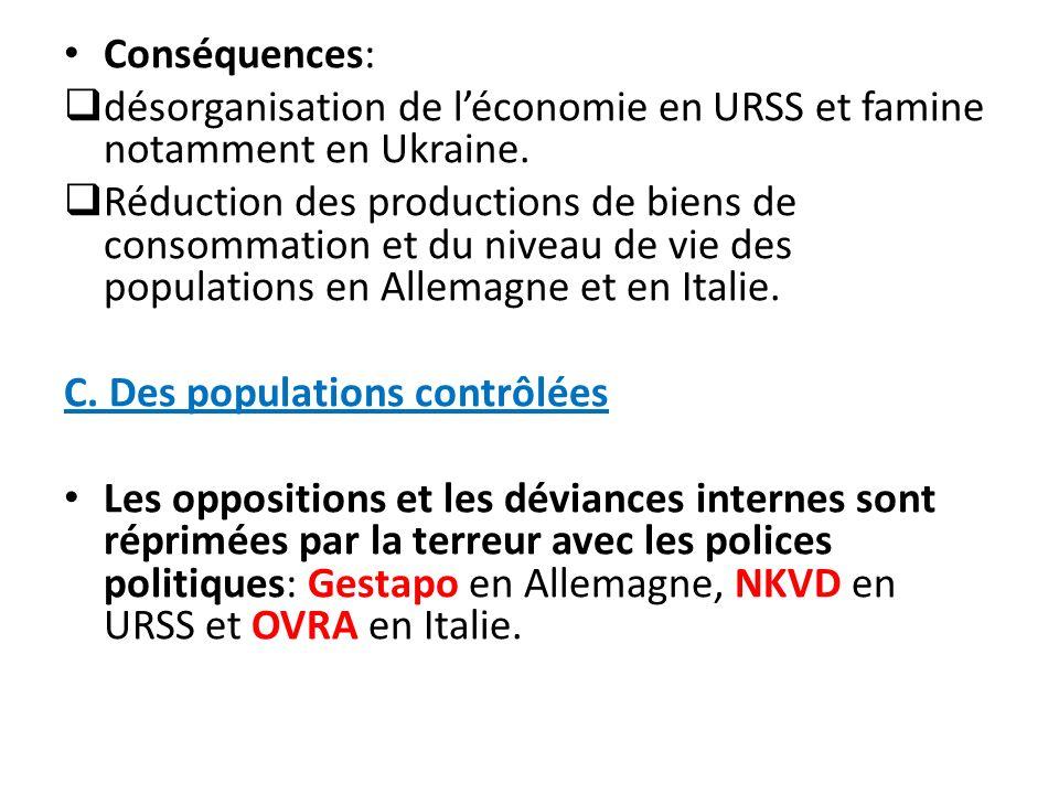 Conséquences: désorganisation de léconomie en URSS et famine notamment en Ukraine. Réduction des productions de biens de consommation et du niveau de