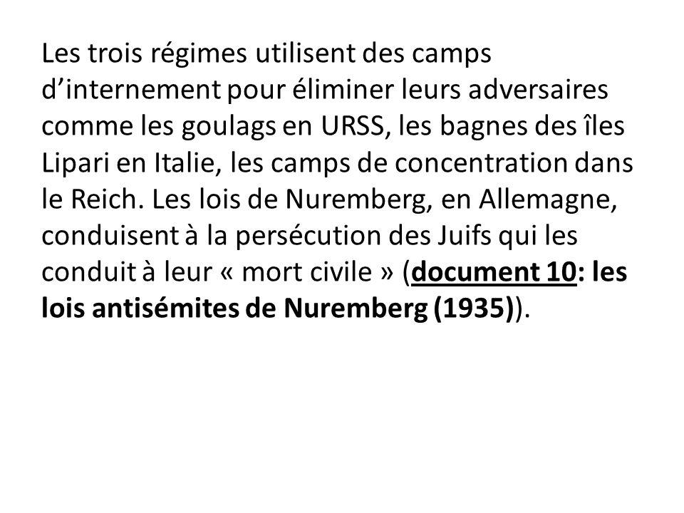 Les trois régimes utilisent des camps dinternement pour éliminer leurs adversaires comme les goulags en URSS, les bagnes des îles Lipari en Italie, le