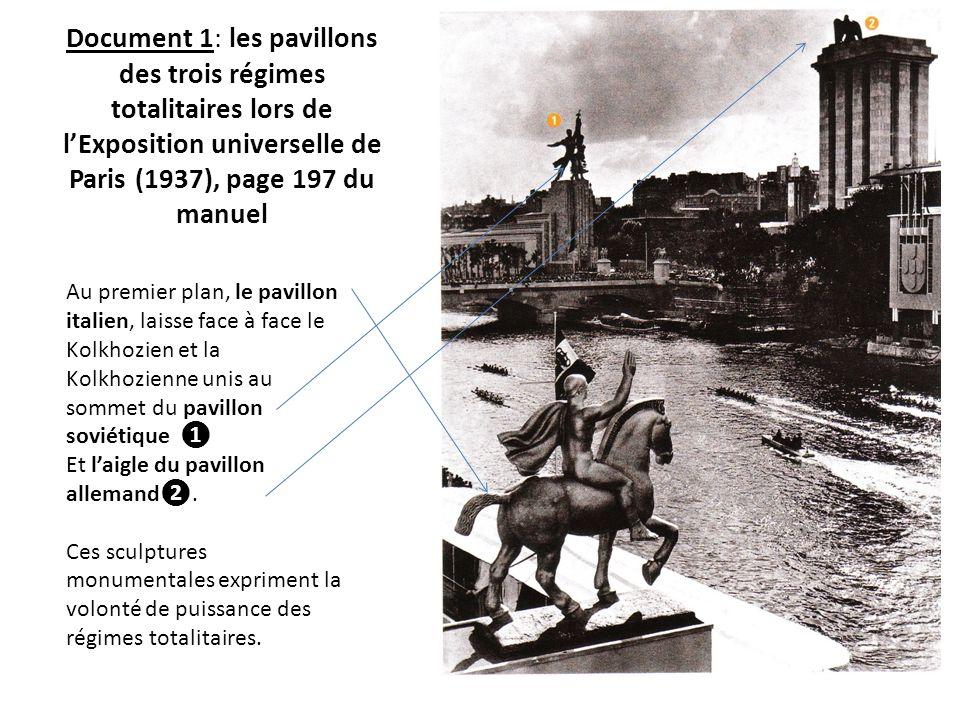 Document 1: les pavillons des trois régimes totalitaires lors de lExposition universelle de Paris (1937), page 197 du manuel Au premier plan, le pavil