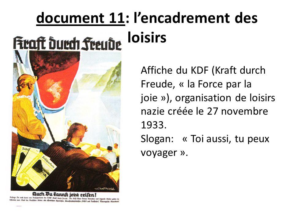 document 11: lencadrement des loisirs Affiche du KDF (Kraft durch Freude, « la Force par la joie »), organisation de loisirs nazie créée le 27 novembr