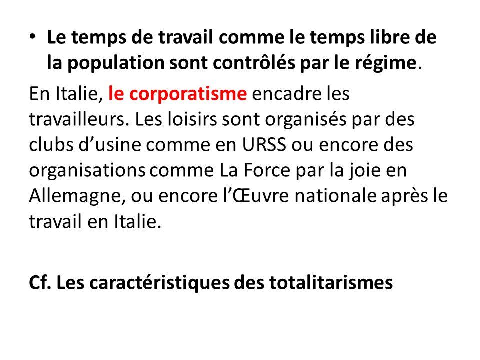 Le temps de travail comme le temps libre de la population sont contrôlés par le régime. En Italie, le corporatisme encadre les travailleurs. Les loisi