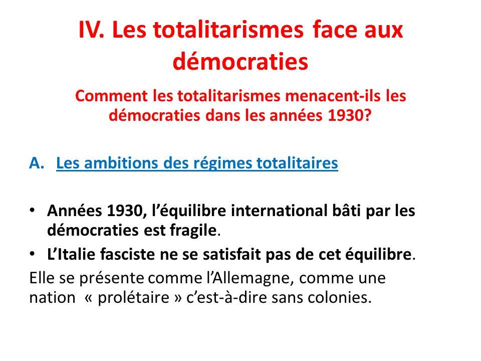 IV. Les totalitarismes face aux démocraties Comment les totalitarismes menacent-ils les démocraties dans les années 1930? A.Les ambitions des régimes