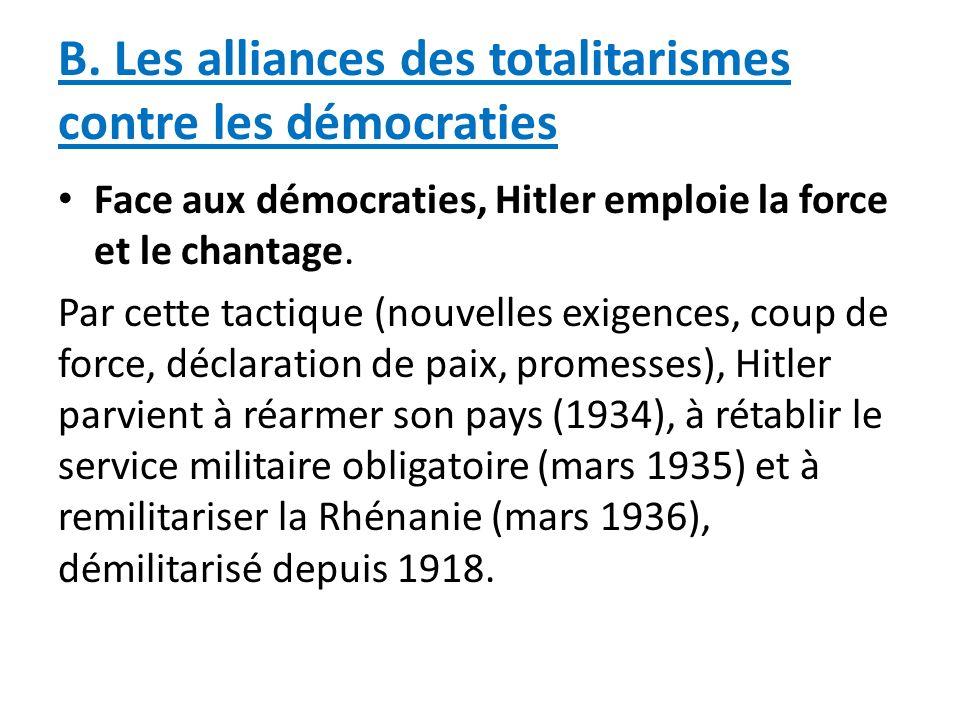 B. Les alliances des totalitarismes contre les démocraties Face aux démocraties, Hitler emploie la force et le chantage. Par cette tactique (nouvelles