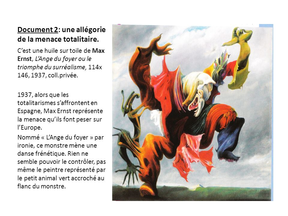 Document 2: une allégorie de la menace totalitaire. Cest une huile sur toile de Max Ernst, LAnge du foyer ou le triomphe du surréalisme, 114x 146, 193
