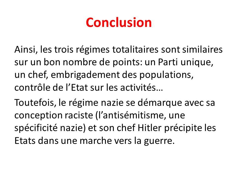 Conclusion Ainsi, les trois régimes totalitaires sont similaires sur un bon nombre de points: un Parti unique, un chef, embrigadement des populations,