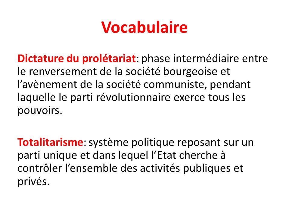 Vocabulaire Dictature du prolétariat: phase intermédiaire entre le renversement de la société bourgeoise et lavènement de la société communiste, penda
