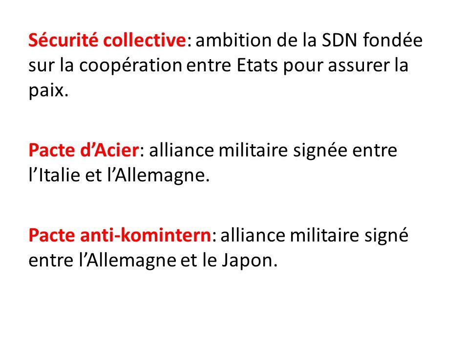 Sécurité collective: ambition de la SDN fondée sur la coopération entre Etats pour assurer la paix. Pacte dAcier: alliance militaire signée entre lIta