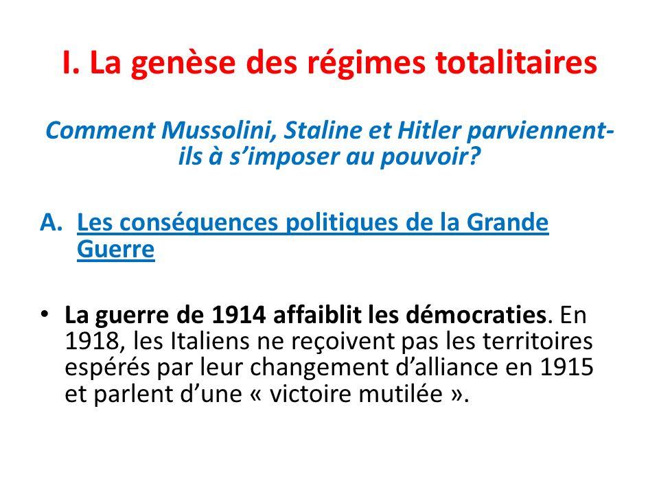 I. La genèse des régimes totalitaires Comment Mussolini, Staline et Hitler parviennent- ils à simposer au pouvoir? A.Les conséquences politiques de la