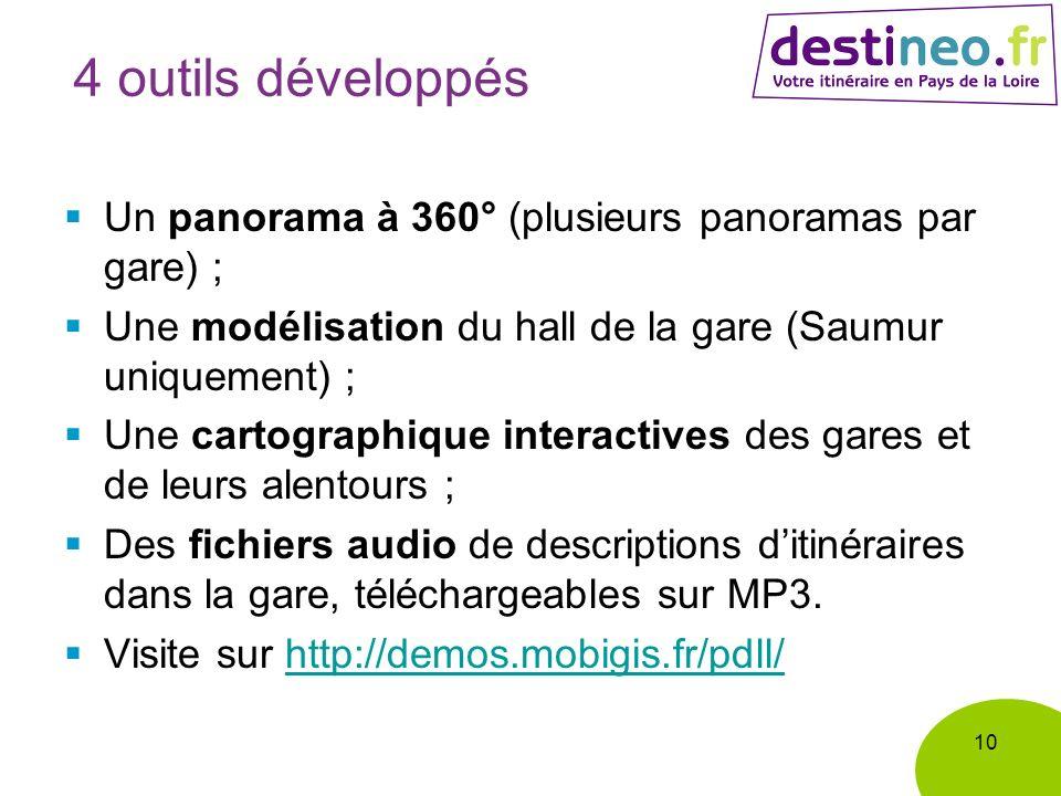 4 outils développés Un panorama à 360° (plusieurs panoramas par gare) ; Une modélisation du hall de la gare (Saumur uniquement) ; Une cartographique interactives des gares et de leurs alentours ; Des fichiers audio de descriptions ditinéraires dans la gare, téléchargeables sur MP3.