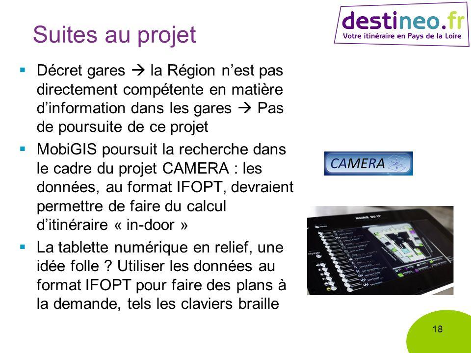 Suites au projet Décret gares la Région nest pas directement compétente en matière dinformation dans les gares Pas de poursuite de ce projet MobiGIS p