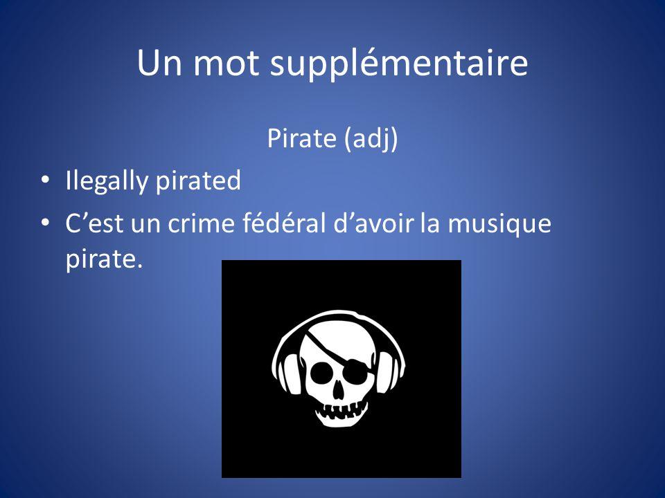 Un mot supplémentaire Pirate (adj) Ilegally pirated Cest un crime fédéral davoir la musique pirate.